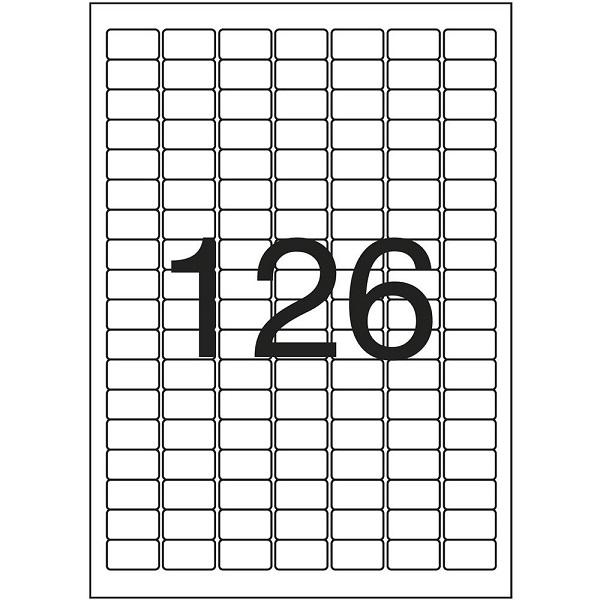 Pimaco com 126 unid por folha. Tem 25 folhas. Total de 3.150 etiquetas. Usada para codificar produtos. A menor que temos.
