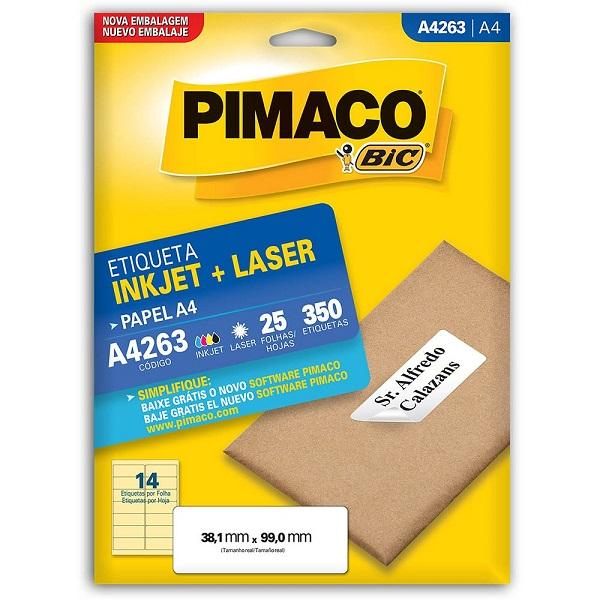Folha A4.  25 folhas com 14 etiquetas em cada. Total de 350 etiquetas. Etiquetas grandes. PIMACO
