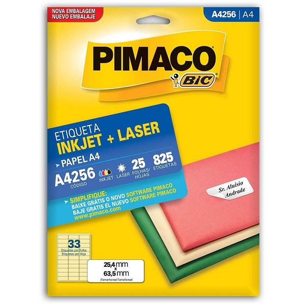 Pimaco em folhas tamanho A4. São 25 folhas com 33 etiquetas em cada uma. Total de 825 etiquetas.